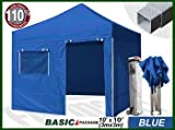 Eurmax Basic 3m x 3m Pop Up Gazebo Heavy Duty Quick Outdoor Marquee Folding Tent With Side Panels And Wheeled Carry Bag, Bonus Awning (Blue)