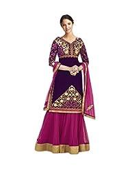 AliColours Women's Faux Georgette Designer Anarkali Dress Material (AliFiona4007_Purple And Pink_Free Size)