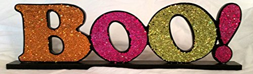 [Table Top Glitter Halloween Sign ~ Boo! ~] (Wood Boo Sign)