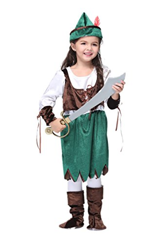 NonEcho Girls Pirate Halloween Costumes Outfit Kit Child Kids