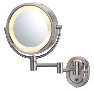 Jerdon HL65N 8-Inch Lighted Wall Mount Makeup Mirror with 5x Magnification, Matte Nickel Finish