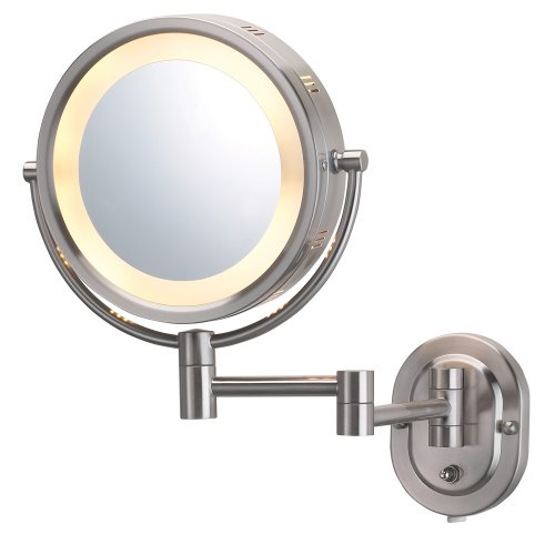 jerdon-hl65n-8-inch-lighted-wall-mount-makeup-mirror-with-5x-magnification-nickel-finish