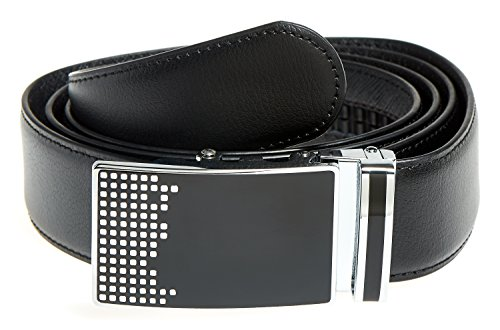 MABUA Leather Belt with Automatic Buckle UP TO Size 50 (Black)