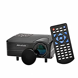 Aketek LED Protable Projector HD PC AV VGA USB HDMI(Black) by Aketek