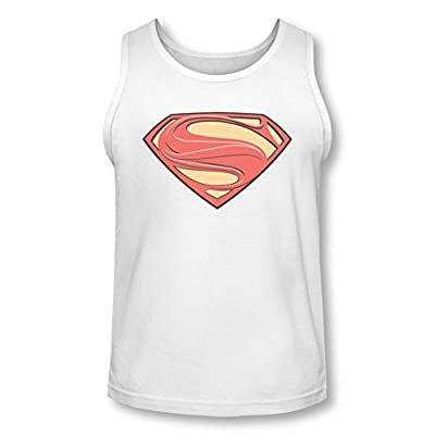 Superman Man of Steel White New Solid Shield Tank Top