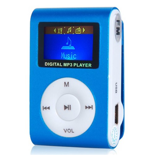 """1.0"""" Lcd Screen Clip Design Mp3 Music Player Fm With Tf Card Slot (Blue)"""