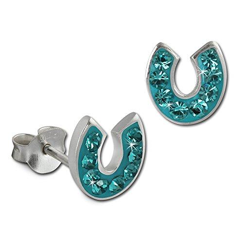 Orecchini a forma di ferro di cavallo 925 poposh SilberDream argento Sterling con cristalli Preciosa Ceca turchese orecchini donna GSO603T