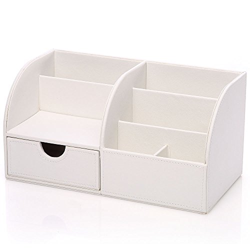 Richblue Multifunctional PU Leather Cover + Wooden Structure Makeup Case Vanity Box Desk Organizer Stationery Holder Caddy 8 Colors (White)