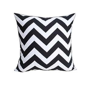 Modern Family Pillow Stripe : NAVA Modern Black White Zigzag Art Stripe Cotton Canvas Decorative Pillow Case Cushion Cover ...