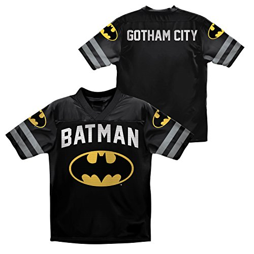 Dc Comics Big Boys' Batman Football Jersey T-Shirt, Black, 8 front-637583