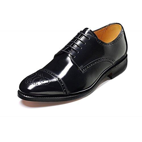 Barker Perth Nero Hi Shine in pelle con lacci scarpe derby, nero (Black), 40
