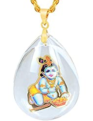 Memoir Crystal Aquarium Encased Krishna Chain Pendant Necklace, For Men And Women