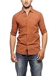 Groove Men Cotton Rust Casual Shirt (Large)