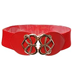 Heart Shape Ladies Buckle Belt Fashion Wide Stretch Girls Waistband - red, 61cm*6cm