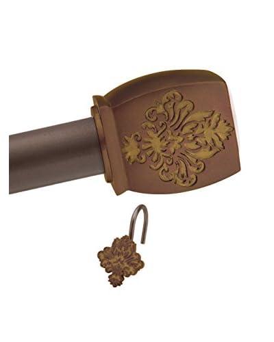 Elegant Home Sylvian Shower Tension Rod & Hook Set, Dark Chocolate/Mocha