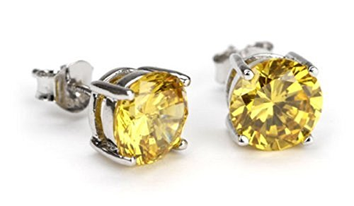 Canary Yellow Round Studs Earring Cubic Zirconia Sterling Silver (7mm 1.25ctw)