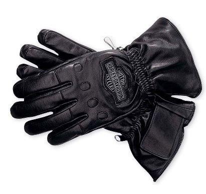 Harley-Davidson? Men's Windshielder Gauntlet Leather Gloves. Windtex? Windproof Membrane. Bar & Shield logo graphics. HD 98158-95VM