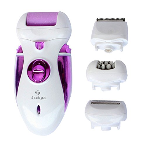 Saebye 4-IN-1 Electric Callus Remover, Epilator, Shaver, Hair Clipper - Rechargeable Electric Device for Lady EverydayCare, Great Gift for Woman (Purple)