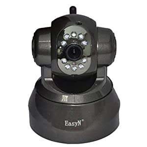 EasyN FS-613B-M166 Wireless/Wired Pan & Tilt IP Camera with 15 Meter Night Vision and 3.6mm Lens (67° Viewing Angle) - Black Tarnish NEWEST MODEL