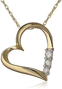 10k Yellow Gold and Diamond Three-Stone Heart Pendant Necklace (0.1 cttw, I-J Color, I2-I3 Clarity), 18