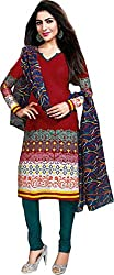Deeptex Women's Unstitched Salwar Suits (Red_Free Size )