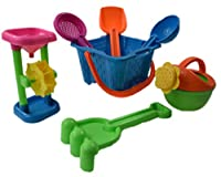 Dazzling Toys Kid's Toy Beach/sandbox Tool Playset - Castle Bucket 7 Piece SET from dazzling toys