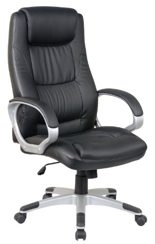 HomCom High Back Leather EXECUTIVE Office Chair Swivel Computer Desk Chair Black