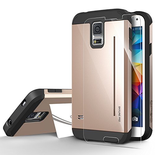 Galaxy S5 Case, OBLIQ [Skyline Pro][Gold] + Screen Shield - Premium Slim Tough Thin Armor Fit Bumper Smooth Finish Dual Layered Heavy Duty Hard Protection Cover for Samsung Galaxy S5 (Galaxy S5 Protective Case Gold compare prices)