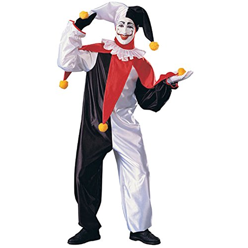 Honeystore Unisex Black and White Scary Clown Halloween Jester Costume for Adult