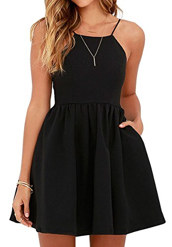 FANCYINN Women Sexy Backless Spaghetti Strap Floral Print Short Mini Casual Dress Black L