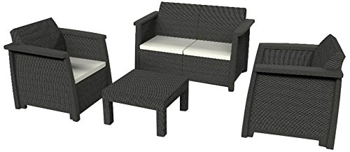 keter vegas lounge set graphite with grey cushions. Black Bedroom Furniture Sets. Home Design Ideas