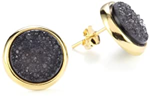 "Marcia Moran ""Mystere"" Black Druzy Stone Circle 18k Gold-Plated Earrings"