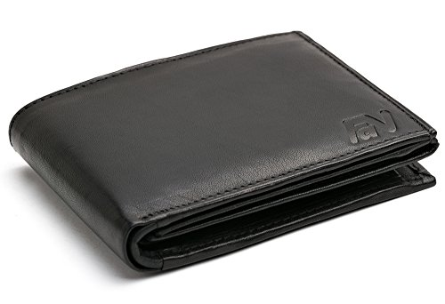Men's Velvety-Soft Black Leather Wallet Genuine Leather Rectangular-Shaped Wallet #SQ90