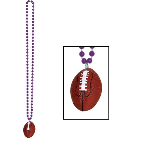 Beads w/Football Medallion (purple) Party Accessory  (1 count) (1/Card) - 1