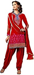 Manmauj Women's Cotton Unstitched Dress Material (MM10036DRED, Red)