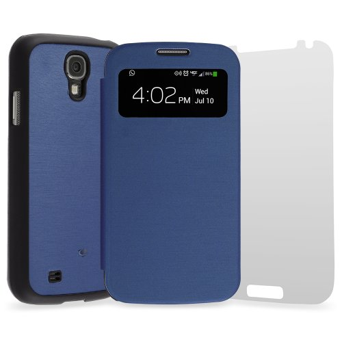 Chromo Inc.® Samsung Galaxy S4 S-View Flip Cover Folio Case and Card Holder - Blue