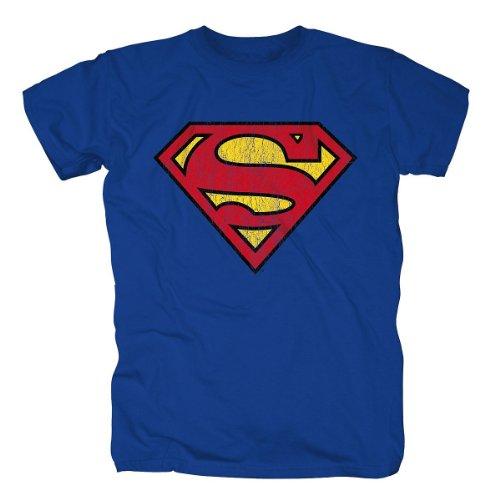 Bravado - Justice League - Batman Logo Shirt, T-shirt da uomo,  manica corta, collo rotondo, Blu (Blau (Blau)), Taglia produttore: Large