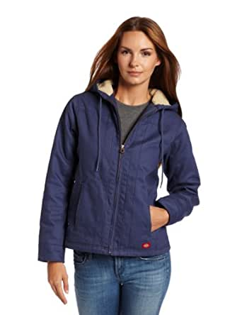 Dickies Women's Sanded Duck Hooded Jacket, Slate Blue, Small