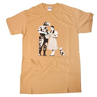 Men 39 s small banksy dorothy wizard of oz print gold cotton for Wizard t shirt printing