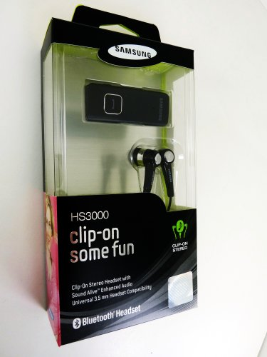 Samsung Stereo Clip-On Bluetooth Headset for Samsung HS3000 - Retail Packaging - Black
