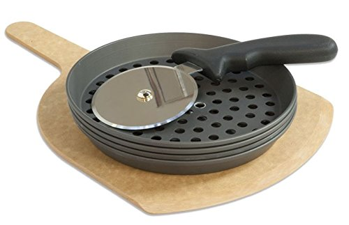 LloydPans Kitchenware 8 Inch Perforated Pizza Pan and Cutting Board Party Set