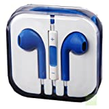 G4GADGET® Blue Earphones Headphones With Remote, Mic & Volume Controls For Apple iPad4 iPhone 5,Ipod All Mp3 Mp4 Players Sony Creative Samsung, All Laptop Pc And All Devices With A Standard 3.5Mm Jack Plug