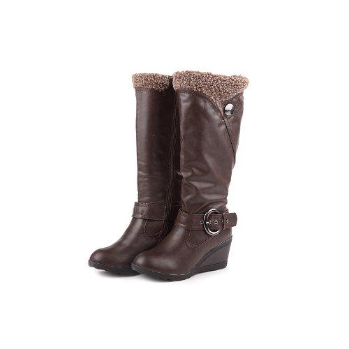 Reneeze K-ADDIE-3 Kids Wedge Mid-Calf Winter Boots- Brown