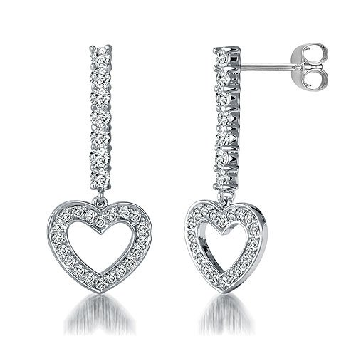 Dangling Heart Earrings in Sterling Silver Cubic Zirconia CZ