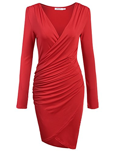ANGVNS Women Long Sleeve Deep V-neck Pencil Dress Bodycon Solid Slim Party Banquet Knee Dress (L, Wine Red)