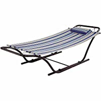 Mainstays Folding Sling Hammock with Stand, Blue Stripe by Mainstays