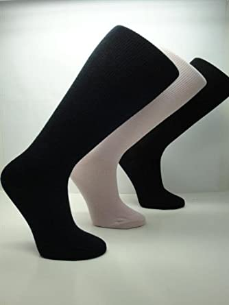 Graduated Compression Cotton Support Stockings 12-16mmHg (2 Pairs) (Large (Men's 8-12 Shoe/ Womens 9-13), Black)