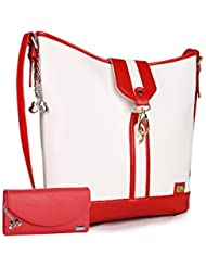 Goldmine Women's Multi Color Handbag (Red& White)