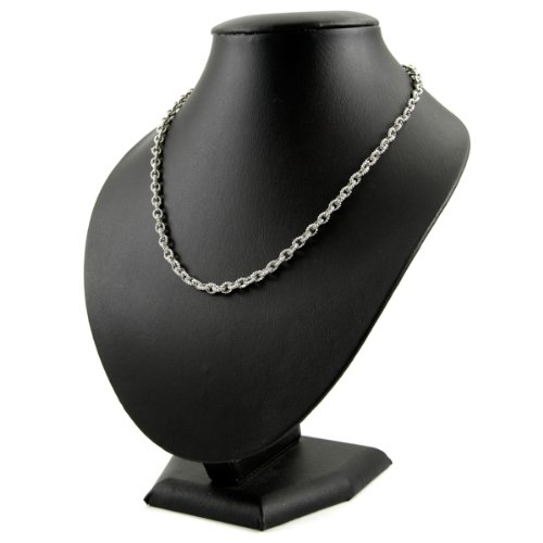 Silver Beaded Cable Link Chain - 16