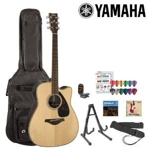 Yamaha Jf-Fgx730Sc-Kit-1 Acoustic-Electric Guitar Kit With Gig Bag, Strings, Strap, Stand, Tuner, Instructional Dvd And Pick Sampler